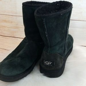 UGG furry tall black boots sz 5